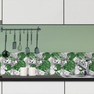 Crédence adhésive tropicale en PVC Capri - L. 200 x l. 40 cm - Vert