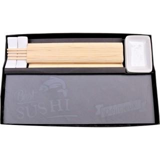 Set à sushi - Baguettes et plateau - Noir