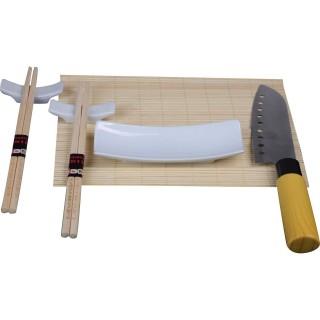 Set à sushi - Baguettes couteau et plateau - Marron