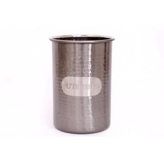 Pot à ustensiles martelé Alix - H. 18 cm - Argent