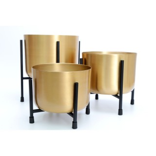 3 Cache-pots sur pied design Gold - H. 29 cm - Doré