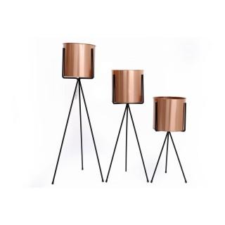 3 Portes plantes design Tulip - H. 64 cm - Couleur cuivre