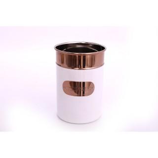 Pot à ustensiles design Copper - H. 18 cm - Blanc et cuivré
