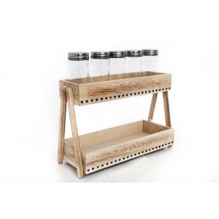 Etagère à épices en bois Campagne - L. 28 x H. 19 cm