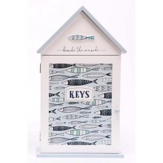 Boîte à clés Thème Mer - L. 17 x H. 26 cm - Bleu clair