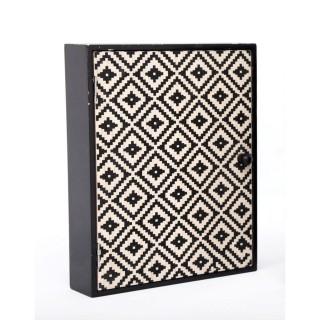 Boîte à clés ethnique losange Kaya - L. 20 x H. 25 cm - Noir