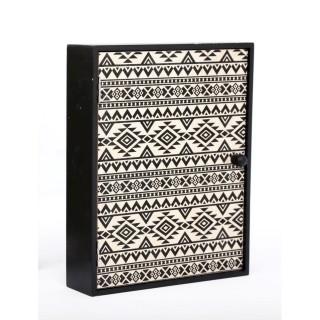 Boîte à clés ethnique Kaya - L. 20 x H. 25 cm - Noir