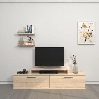 Meuble TV avec étagère design Orione - L. 150 x H. 39 cm - Marron sonoma