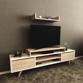 Meuble TV avec étagère Melis - L. 160 x H. 48 cm - Blanc sonoma