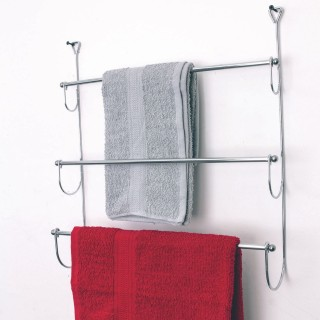 Porte-serviettes de porte Design - L. 48 x H. 54 cm - Argent