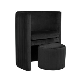 Fauteuil avec pouf en velours vintage Cabriolet - Noir