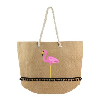 Sac cabas flamant Exotic - Rose