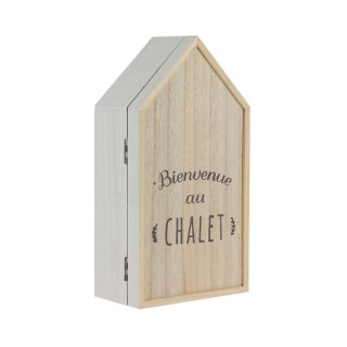Boîte à clés montagne Au chalet - L. 14 x H. 27 cm - Beige