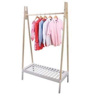 Penderie portant à vêtements en bois Scandi - L. 100 x H. 170 cm - Blanc