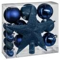 Kit de décorations pour sapin de noël - 18 Pièces - Bleu nuit