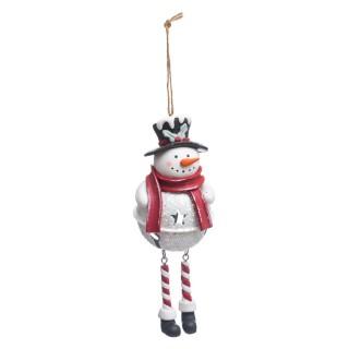 Décoration pour sapin de Noël Bonhomme de neige - Rouge