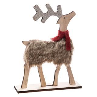Décoration de Noël en bois effet fourrure Renne - Marron