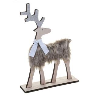 Déco de Noël en bois effet fourrure Renne - Blanc