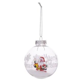 Boule de Noël avec neige Papa Noël - Transparent