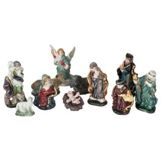 11 Santons pour crèche de Noël - H. 10 cm - Multicolore