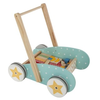 Jouet éveil - Trotteur chariot en bois avec bloc de contruction