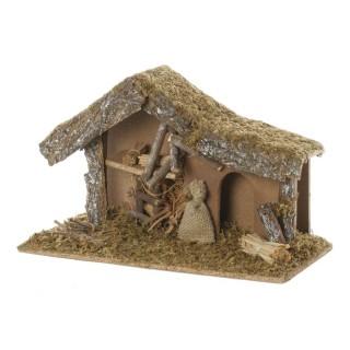 Crèche traditionnelle de Noël vide - H. 24 cm