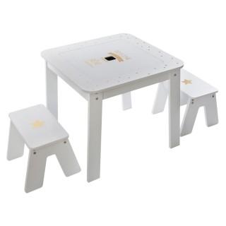 Table bureau avec tabourets enfant Douceur - L. 57 x H. 51 cm - Blanc