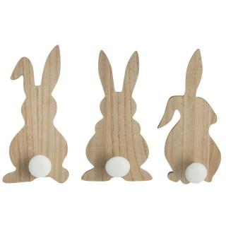 3 Patères enfant en bois lapin Boby - Marron