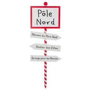 Pancarte de Noël Pôle Nord - H. 120 cm - Blanc