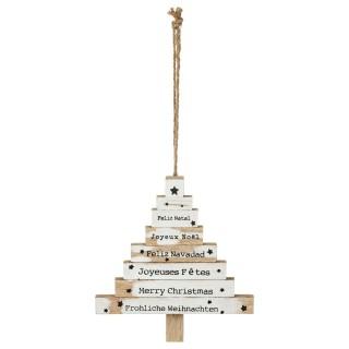 Décoration en bois pour sapin de Noël Pancarte - Blanc