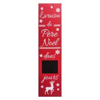 Calendrier de l'Avent Pancarte en bois - H. 120 cm - Rouge