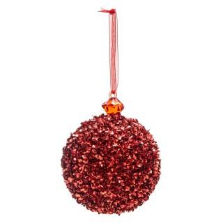 Boule de Noël pailletée Comptoir de Noël - Rouge