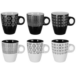 6 Mugs design Ethnik - 190 ml - Blanc et noir