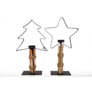 2 Bougeoirs de Noël en bois Natural - Noir