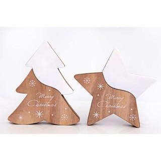 2 Décorations de Noël Wooden Natural - Blanc