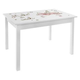 Bureau table enfant Print Douceur - L. 77 x H. 48 cm - Blanc et rose
