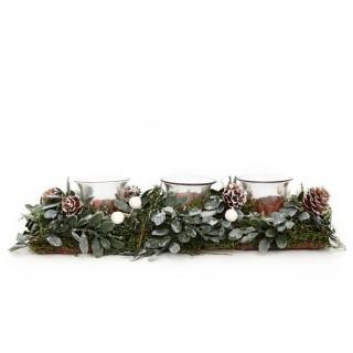 Photophore de Noël en bois Forest Natural - 3 Bougies - Vert