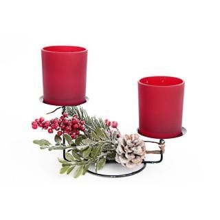 Bougeoir de Noël Forest Tradi - 2 Bougies - Rouge