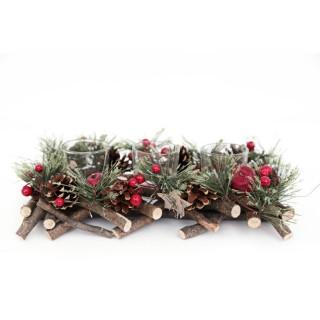 Photophore de Noël en bois Tradi - 3 Bougies - Rouge