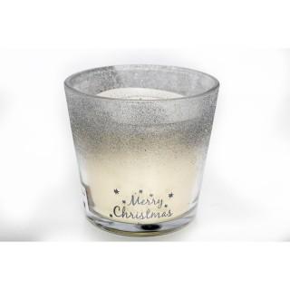 Bougie de Noël en pot design Ice - Argent