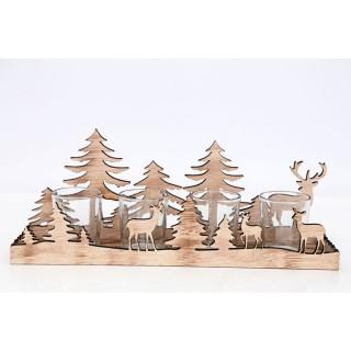 Photophore de Noël bois Forest Natural - 4 Bougies
