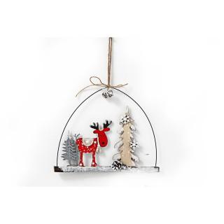 Déco de Noël à suspendre Renne Wooden - Rouge