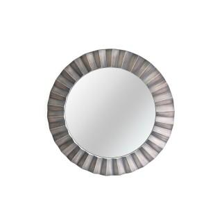 Miroir rond en métal design Flora - Diam. 80 cm - Argent