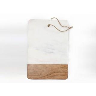 Planche à découper bois et marbre Marble - L. 36 x l. 20 cm - Blanc