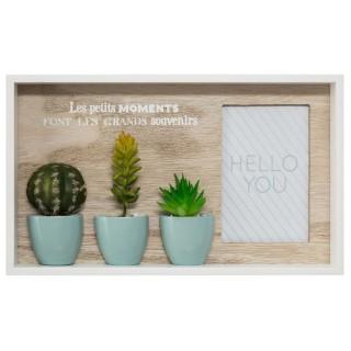 Cadre pêle-mêle tropical Cactus - 1 Photo - Blanc
