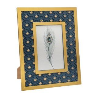 Cadre photo design Peacock PM - Bleu canard et doré
