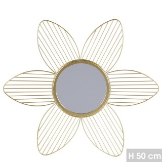 Miroir mural design fleur Gold Home - Doré