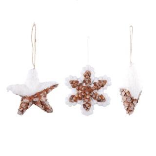 3 Décorations sapin de Noël Polaire - Blanc