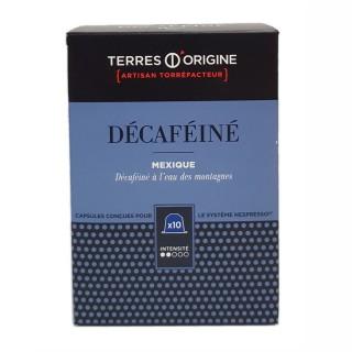 Capsules café décaféiné intensité 2/5 - Terres d'Origine - Boîte 55g soit 10 capsules conçues pour le système Nespresso