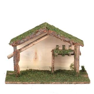 Crèche de Noël traditionnelle en bois - L. 34 x H. 23 cm